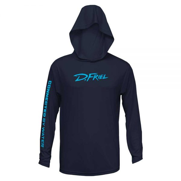 Hooded Performance Studio Long Sleeve (Men's, Navy) by D.Friel - Connected by Water